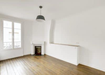 renovation appartement locatif maillard paris chambre tete de lit sur mesure cheminee origine kaizo studio architecte interieur paris bourg la reine web