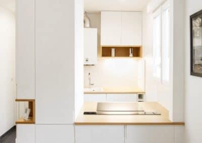 renovation appartement marcel yol vanves cuisine ouverte sur mesure sejour plan travail bois hotte escamotable kaizo studio architecte interieur paris bourg la reine web