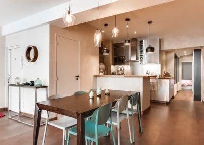 transformation atelier en appartement aboukir paris salle a manger cuisine inox couloir kaizo studio architecte interieur paris bourg la reine web